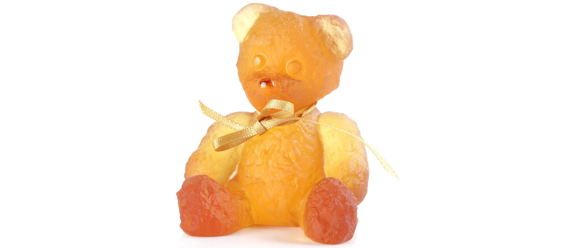 Crystal Figure Daum Mini Bear Amber big