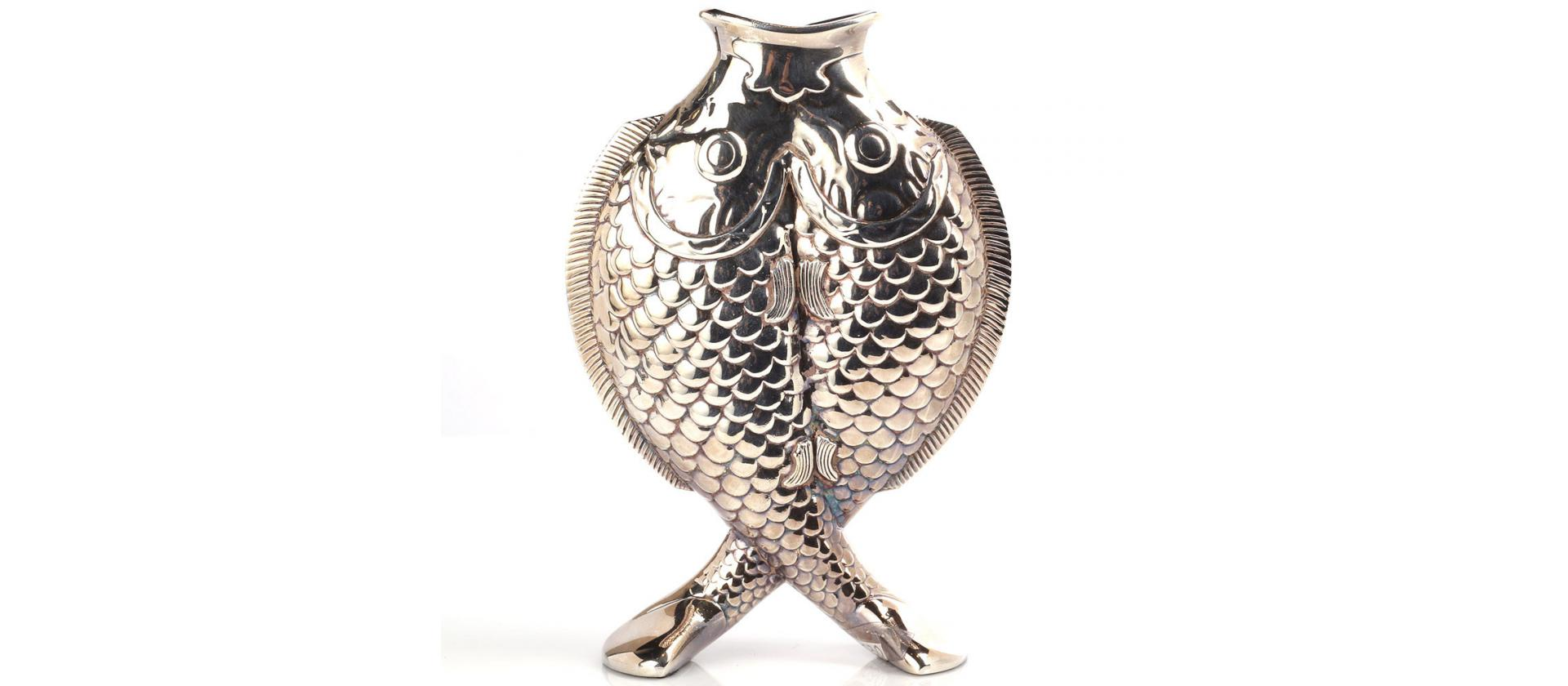 Silver Plated Crystal Vase Christofle Fish big