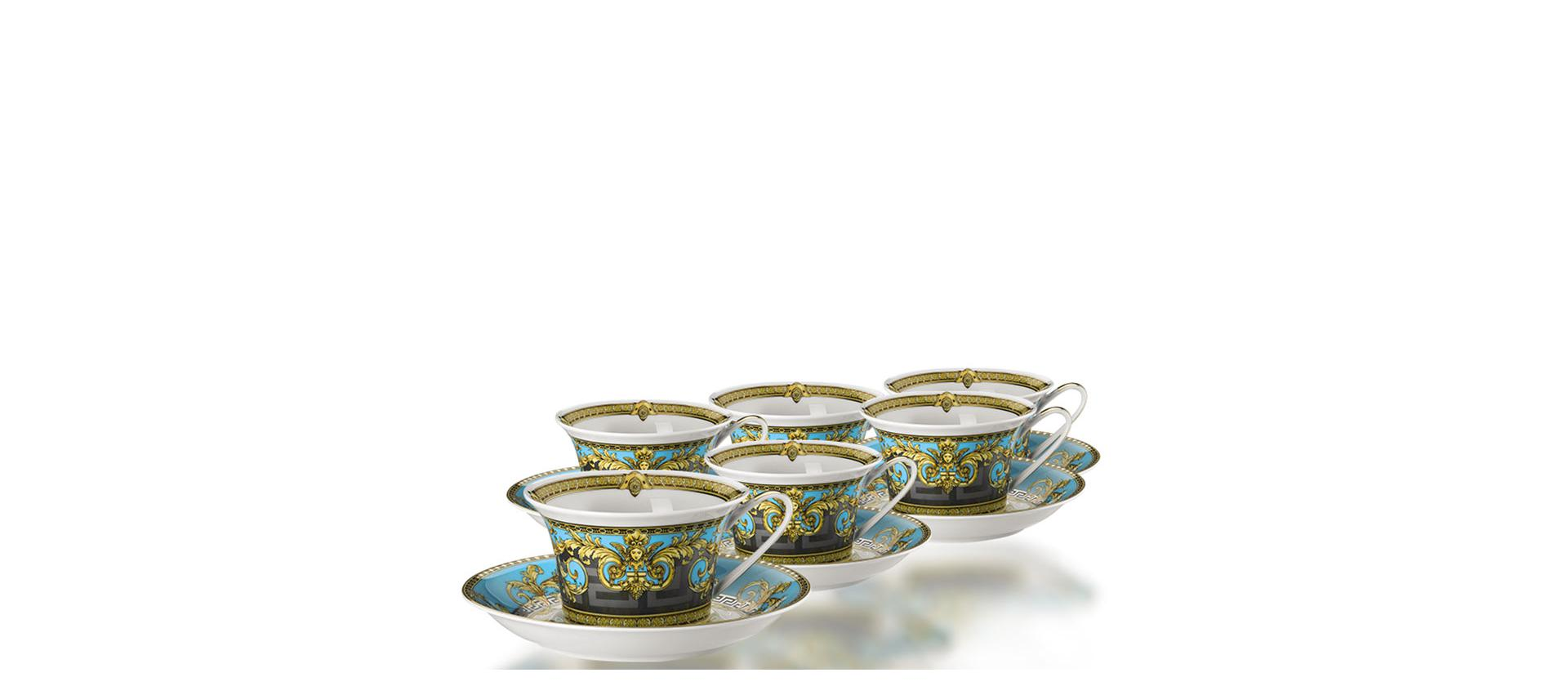 Tea service for 6 people Rosenthal Versace Prestige Gala Bleu big