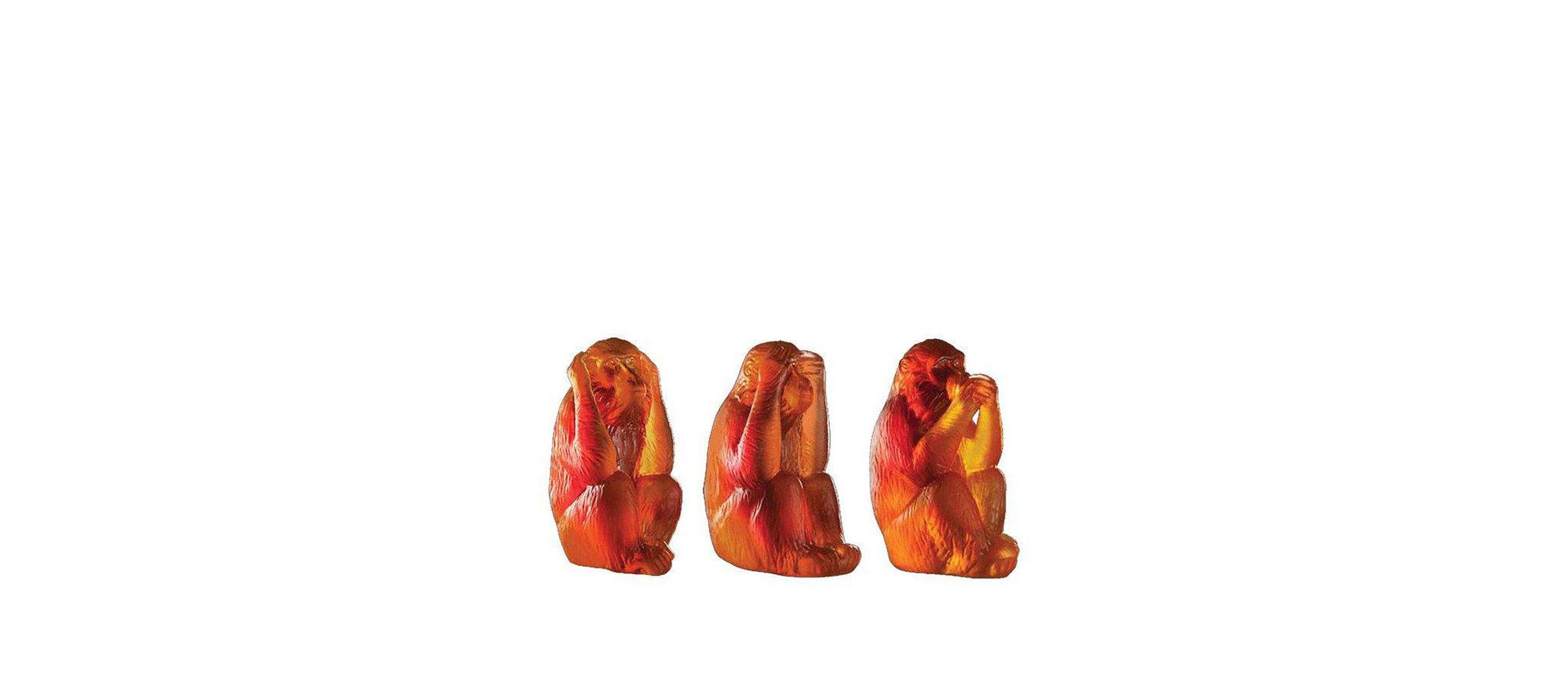 Set of crystal monkeys Daum Veni Vidi Vici big